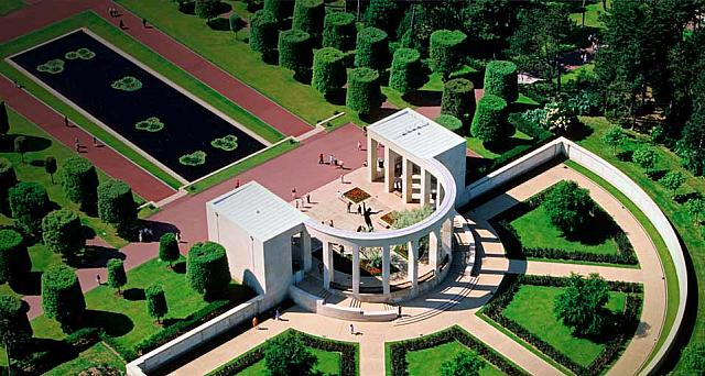 Aerial wiev of the Normandy American Cemetery and Memorial near Omaha Beach, Colleville sur Mer, Calvados, France