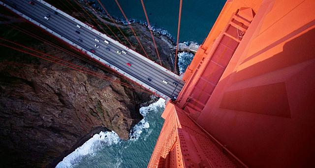Looking down on the Golden Gate Bridge, San Francisco, California