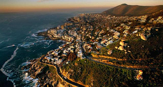 Cliffside suburbs just south of Cape Town, South Africa