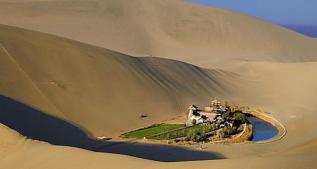 Crescent Moon Lake (Yueyaquan), near the ancient silk road city of Dunhuang, Gansu Province, China
