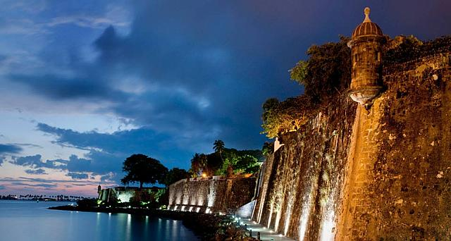 City wall and watch tower in San Juan, Puerto Rico