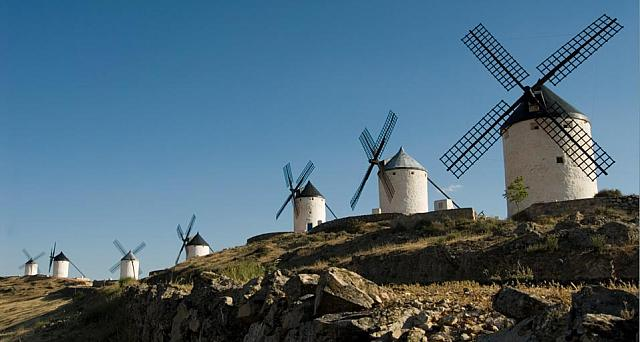 Windmills in campo Consuegra, La Mancha, Spain