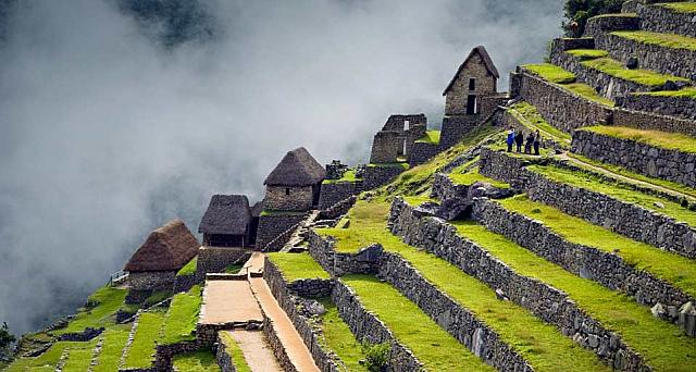 Terraces of Machu Picchu, the great Inca city in the Andes of Peru