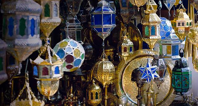 Lanterns, including traditional Ramadan lanterns, for sale in the souk near the Djemaa el Fna in Marrakech, Morocco