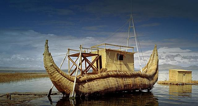 Papyrus Boat, World's highest lake Titicaca,  Puno - Peru