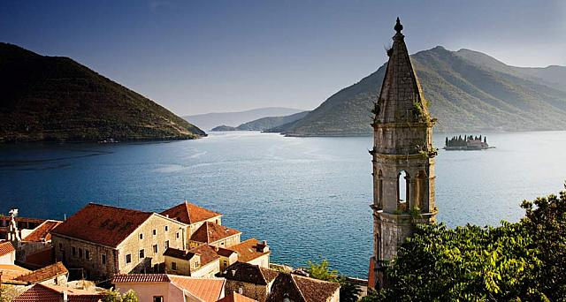 The village of Perast and the Bay of Kotor in Montenegro