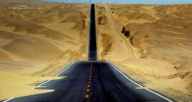 Highway through Qaidam Basin in western China