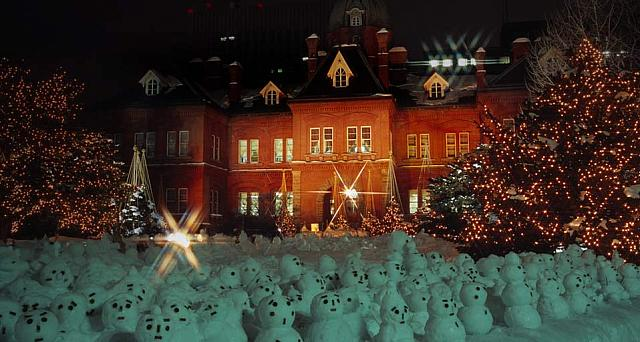 Mini snowmen decorate the space in front Old Hokkaido Agency building in Sapporo, Hokkaido, Japan