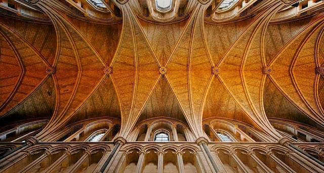 The ceiling of Southwark Cathedral in London, England