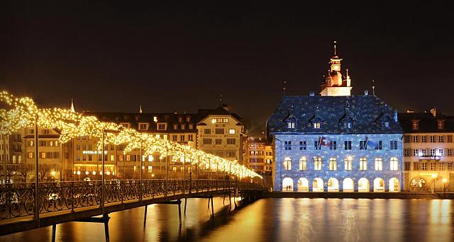Lucerne Town Hall illuminated with Christmas lights by artist Gerry Hofstetter, Lucerne, Switzerland