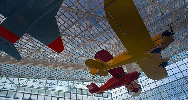 Airplanes inside the Museum of Flight in Seattle, Washington