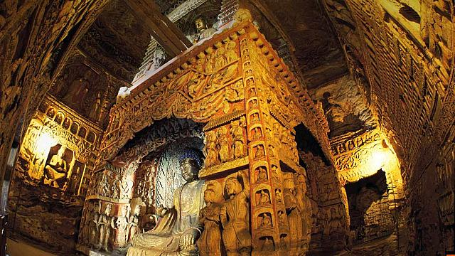 Yungang Grottoes in Shanxi, China (© View Stock/Getty Images)
