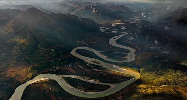 The Alatna River meanders south from the Gates of the Arctic National Park and Preserve, Alaska