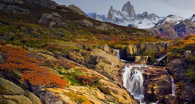 Waterfall on the Arroyo del Salto River below Mount Fitzroy, Argentina