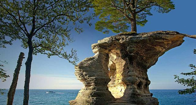 Chapel Rock in Pictured Rocks National Lakeshore, Michigan
