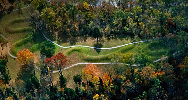 The Great Serpent Mound, a pre-historic effigy mound along Ohio Brush Creek in Ohio