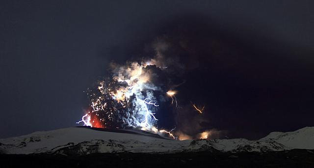 Volcanic eruptions are lit by lightning on the Eyjafjallajokull glacier near Eyjafjallajokull, Iceland