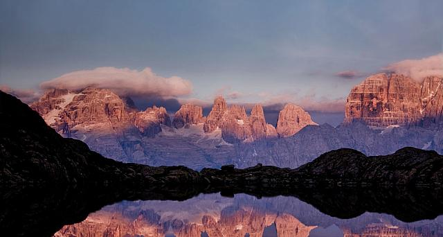 Lago Nero with view of Gruppo di Brenta—a portion of the Alps, located in the Province of Trento, Italy