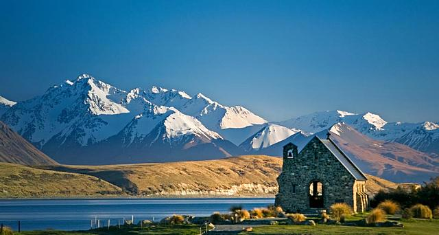The Church of the Good Shepherd on Lake Tekapo with Mount Cook National Park in the background on the South Island of New Zealan