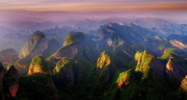 Magnificent sunset over Langshan Mountain, Hunan Province, China
