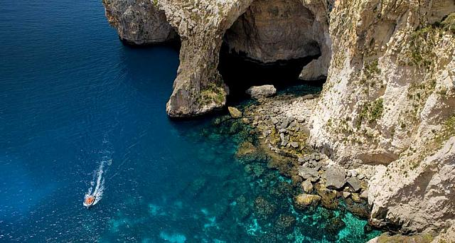 Entrance to the Blue Grotto, off the southern coast of Malta