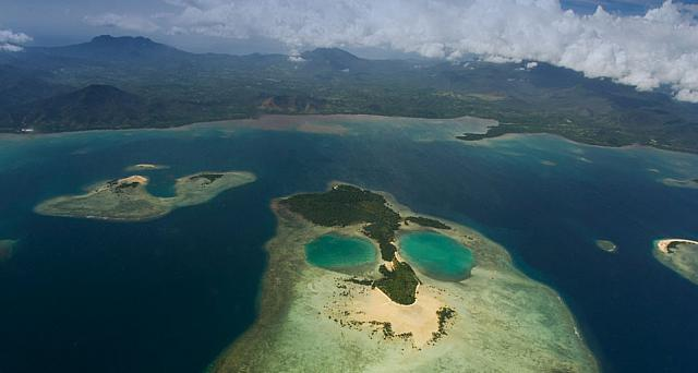 Coral Island in the shape of a face near Puerto Princesa, Palawan Province, Philippines