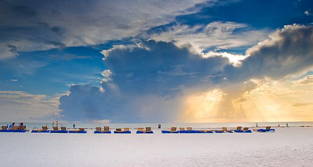 Chairs line the beach in St. Petersburg, Florida