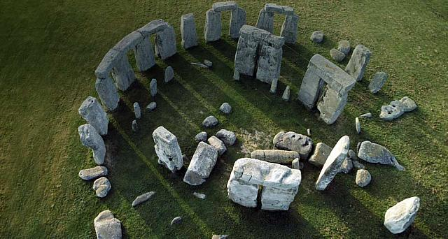 An aerial view of Stonehenge, Wiltshire, England