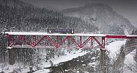Akita Railway traveling over an iron bridge, Tohoku, Japan