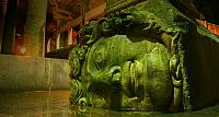 A head of Medusa used as the base of a column in the Yerebatan Cistern, Istambul, Turkey
