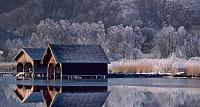 Boathouse on Lake Kochel, Bavaria, Germany