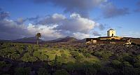 A small barn sits on a hilltop in the Yaiza area of southern Lanzarote, Canary Islands, Spain