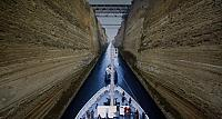 Ship passing through the Corinth Canal, Greece