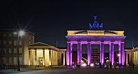 The Brandenburg Gate stands illuminated during the Festival of Lights in Berlin, Germany