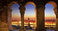 Parliament by night along the Fisherman's Bastion in Budapest, Hungary