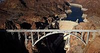 An aerial shows part of the Hoover Dam Bypass Project in front of the Hoover Dam in the Lake Mead National Recreation Area, Ariz