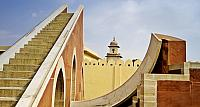 The Laghu Samrat Yantra sundial at the Jantar Mantar astronomical observatory, built in the early 1700's, in Jaipur, Rajasthan,
