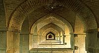 Arches under the Khaju Bridge in Isfahan, Iran