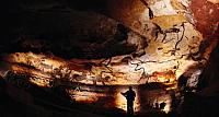 Paintings of Paleolithics bulls and other animals crowd calcite walls of the Lascaux caves in southwestern France