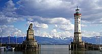 Lindau Harbor, with lighthouse and lion statue, on Lake Constance, Bavaria, Germany