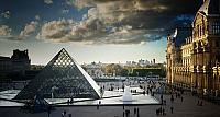 Louvre museum and pyramids in Paris, France