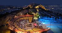 The open-air theater of Lykavittos Hill in Athens, Greece