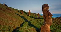Moai stone statues on the outer slope of Rano Raraku, a soft stone quarry on Easter Island