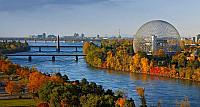 The geodesic dome of the Montreal Biosphere on Sainte Helene Island in Montreal, Quebec, Canada