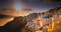The village of Oia on the island of Santorini, Greece at sunset