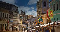 Pelourinho, the old historic center of Salvador, Bahia state, Brazil, during Carnival