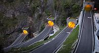 Hairpin bends in the tunnels climbing toward San Boldo pass, Treviso district, Veneto, Italy