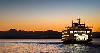 Large ferry sailing in Puget Sound, near Seattle, Washington