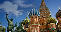 St. Basil's Cathedral  and the bronze monument to Minin &; Pozharsky in Red Square, Moscow, Russia