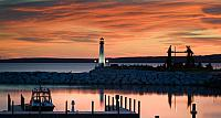 Wawatam Light in St. Ignace on Lake Huron, Upper Peninsula, Michigan